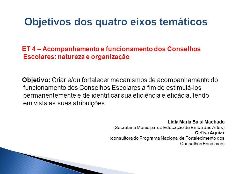 ET 4 – Acompanhamento e funcionamento dos Conselhos Escolares: natureza e organização Objetivo: Criar e/ou fortalecer mecanismos de acompanhamento do