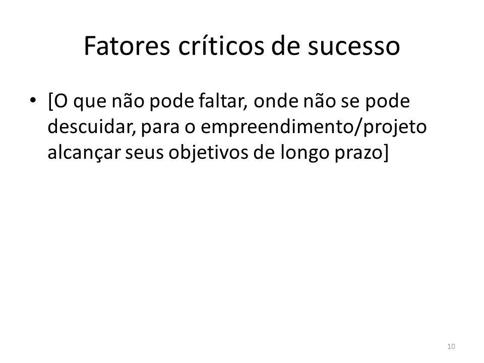 Fatores críticos de sucesso [O que não pode faltar, onde não se pode descuidar, para o empreendimento/projeto alcançar seus objetivos de longo prazo]