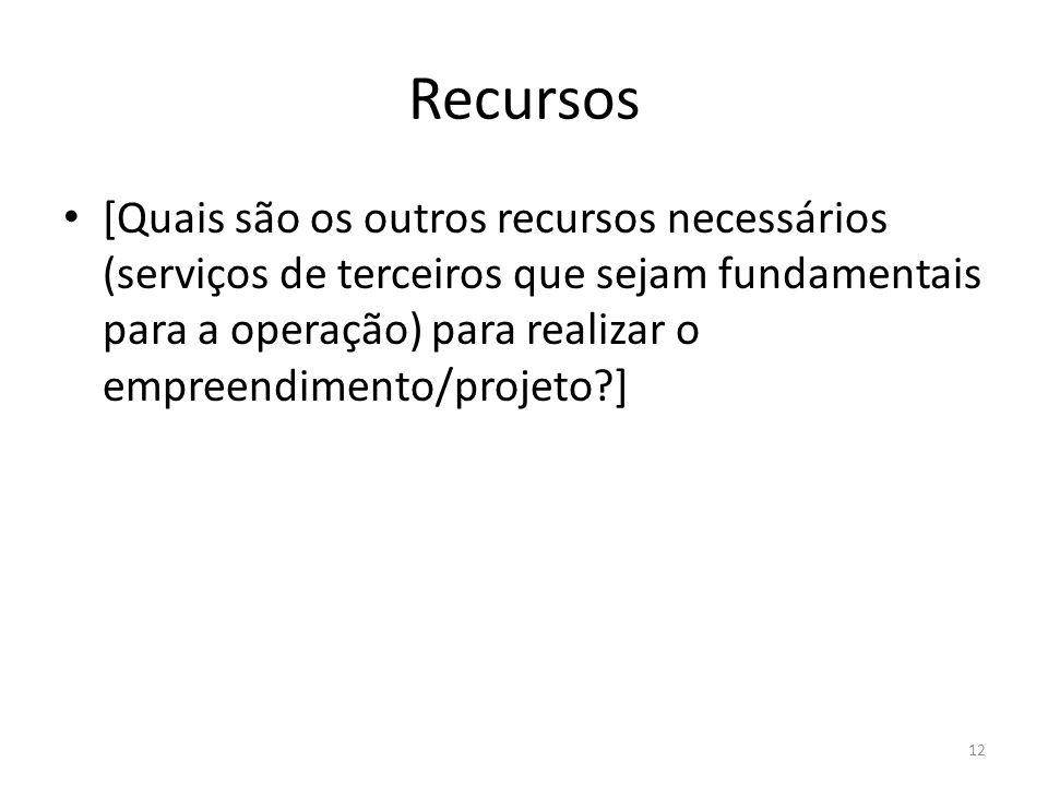 Recursos [Quais são os outros recursos necessários (serviços de terceiros que sejam fundamentais para a operação) para realizar o empreendimento/proje