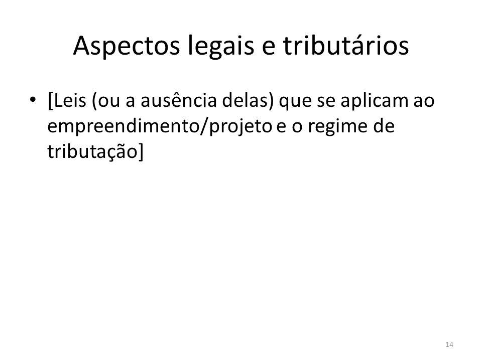 Aspectos legais e tributários [Leis (ou a ausência delas) que se aplicam ao empreendimento/projeto e o regime de tributação] 14