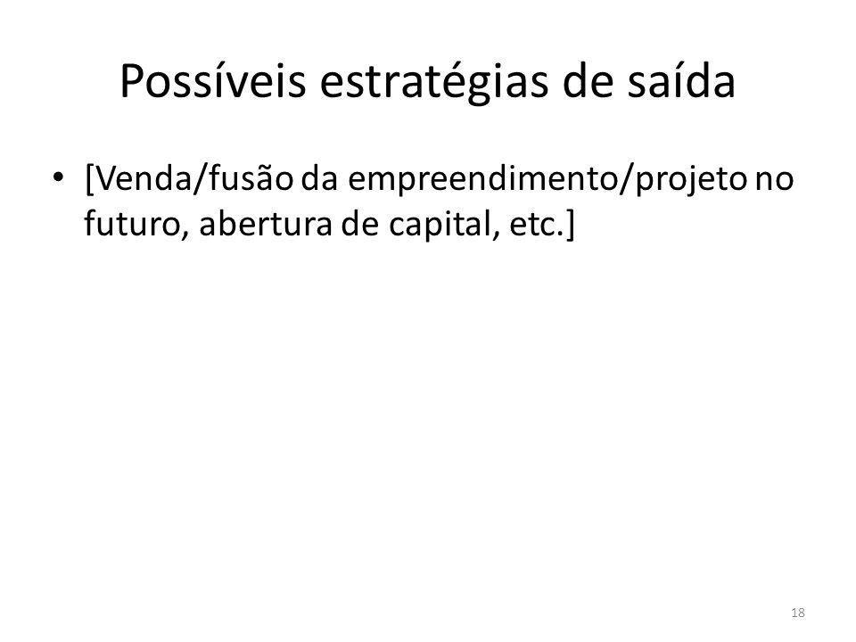 Possíveis estratégias de saída [Venda/fusão da empreendimento/projeto no futuro, abertura de capital, etc.] 18