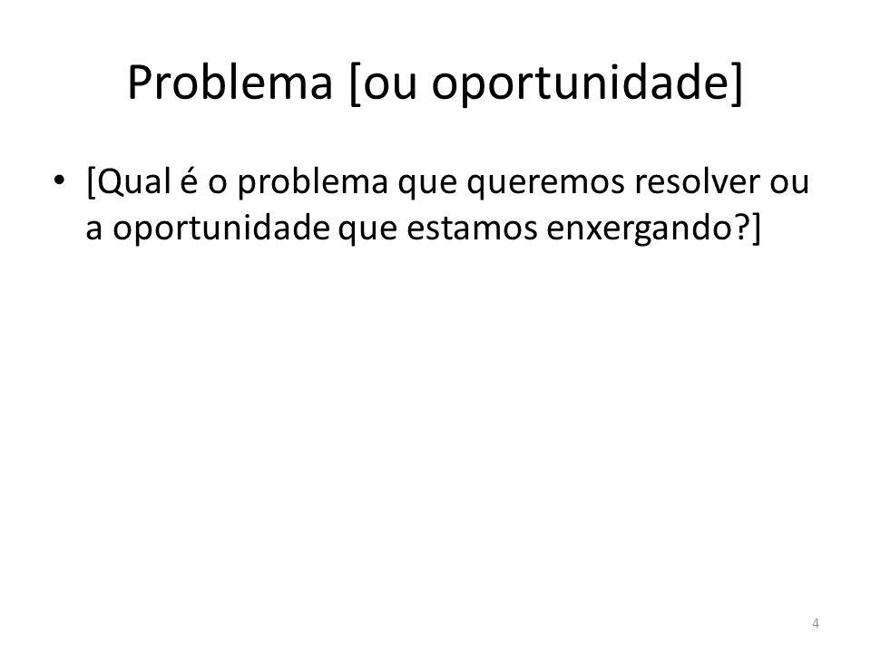 Problema [ou oportunidade] [Qual é o problema que queremos resolver ou a oportunidade que estamos enxergando?] 4