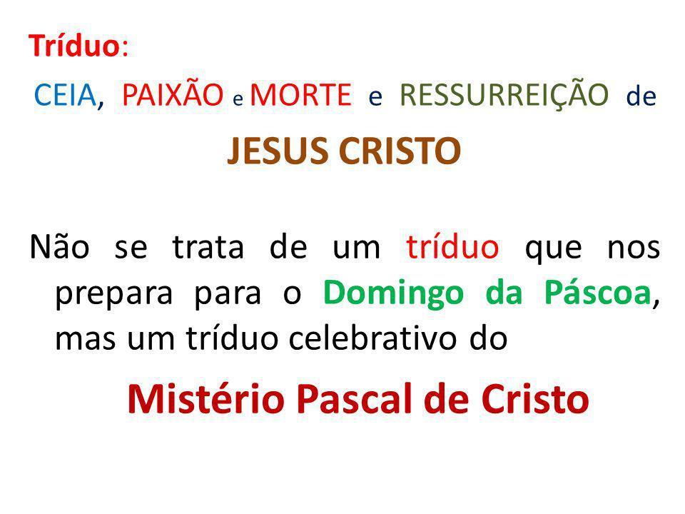 Tríduo: CEIA, PAIXÃO e MORTE e RESSURREIÇÃO de JESUS CRISTO Não se trata de um tríduo que nos prepara para o Domingo da Páscoa, mas um tríduo celebrat