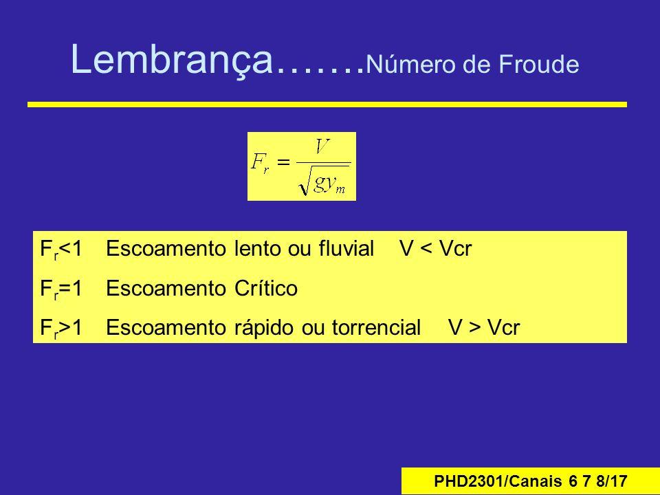 PHD2301/Canais 6 7 8/17 Lembrança……. Número de Froude F r <1Escoamento lento ou fluvial V < Vcr F r =1Escoamento Crítico F r >1Escoamento rápido ou to
