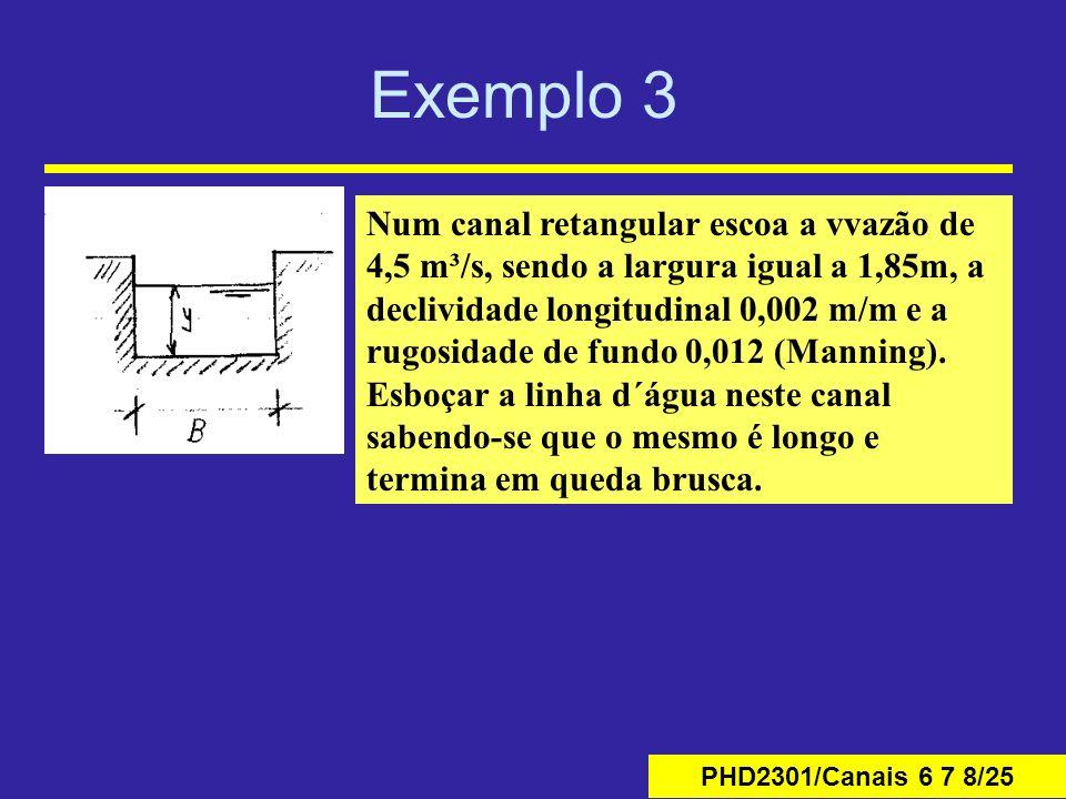 PHD2301/Canais 6 7 8/25 Exemplo 3 Num canal retangular escoa a vvazão de 4,5 m³/s, sendo a largura igual a 1,85m, a declividade longitudinal 0,002 m/m