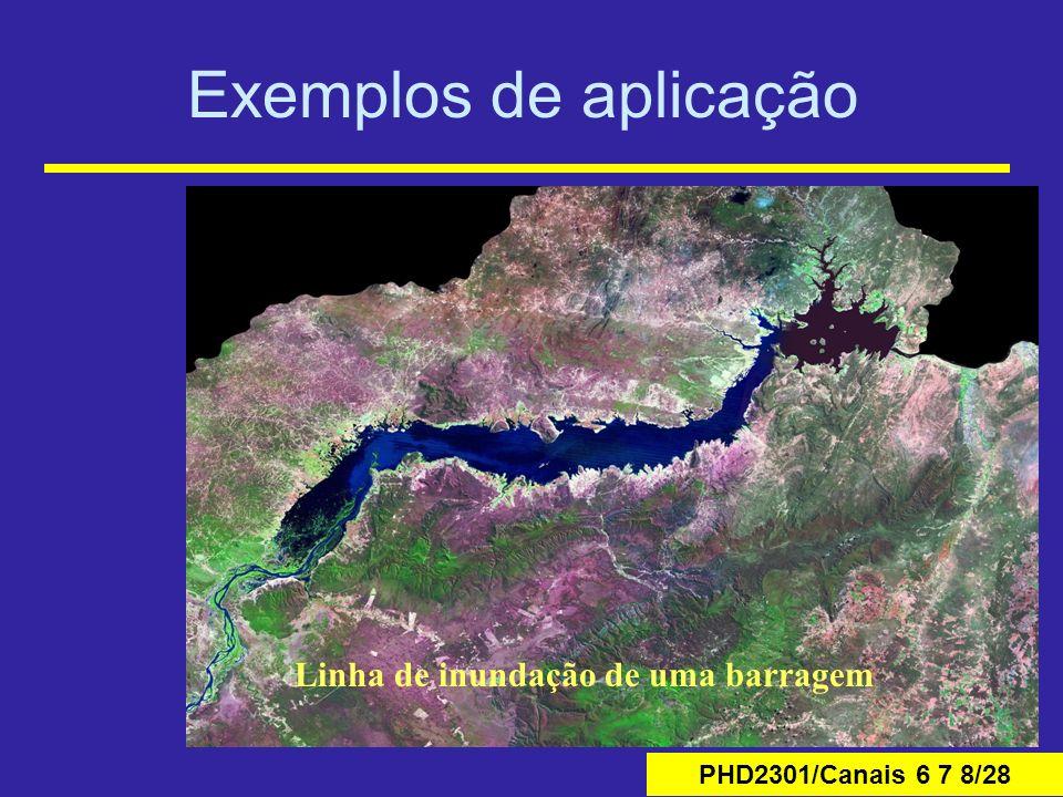 PHD2301/Canais 6 7 8/28 Exemplos de aplicação Linha de inundação de uma barragem