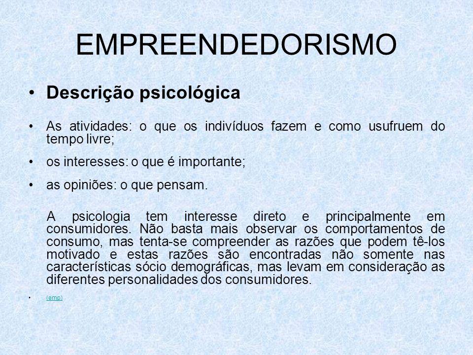 EMPREENDEDORISMO Descrição psicológica As atividades: o que os indivíduos fazem e como usufruem do tempo livre; os interesses: o que é importante; as