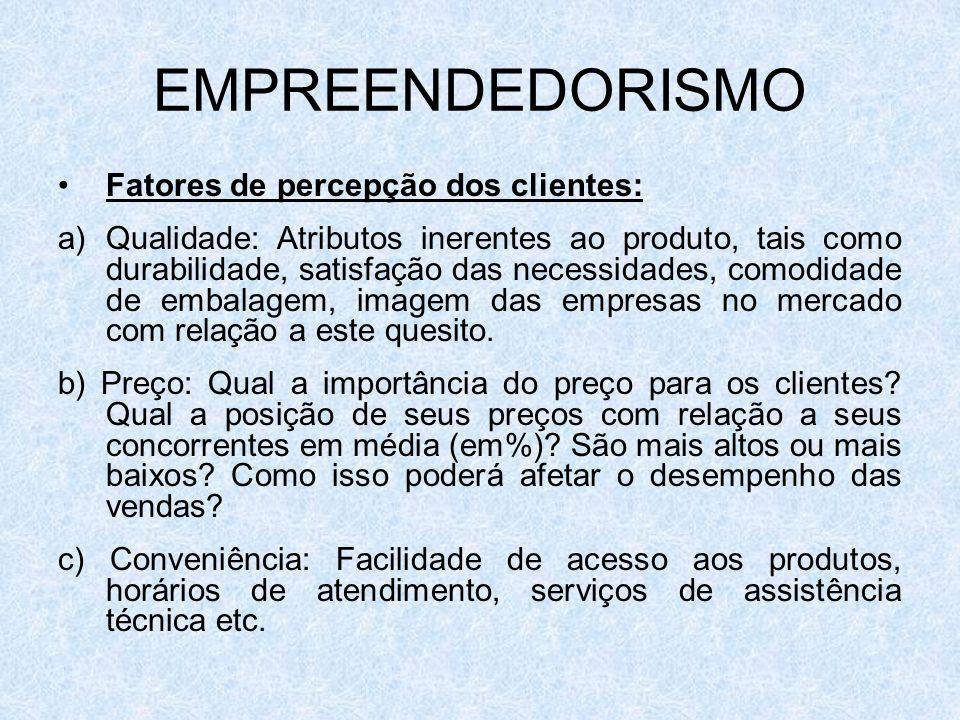 EMPREENDEDORISMO Fatores de percepção dos clientes: a)Qualidade: Atributos inerentes ao produto, tais como durabilidade, satisfação das necessidades,