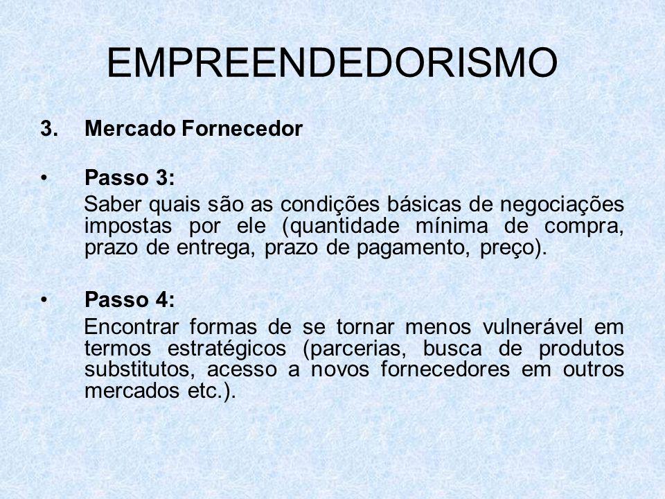 EMPREENDEDORISMO 3.Mercado Fornecedor Passo 3: Saber quais são as condições básicas de negociações impostas por ele (quantidade mínima de compra, praz