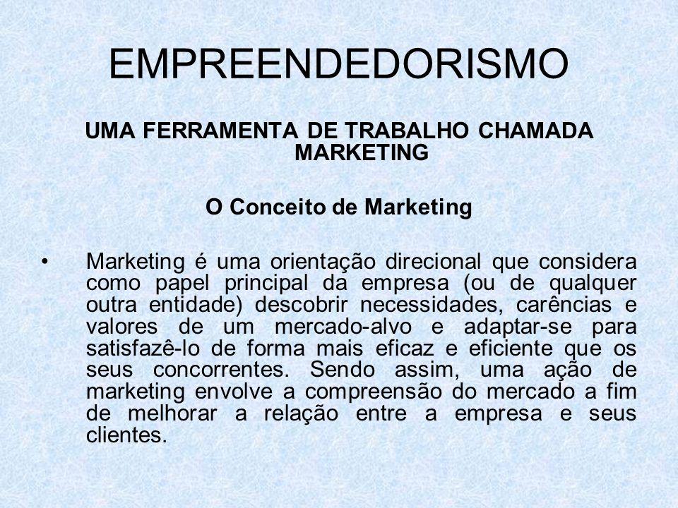 EMPREENDEDORISMO UMA FERRAMENTA DE TRABALHO CHAMADA MARKETING O Conceito de Marketing Marketing é uma orientação direcional que considera como papel p