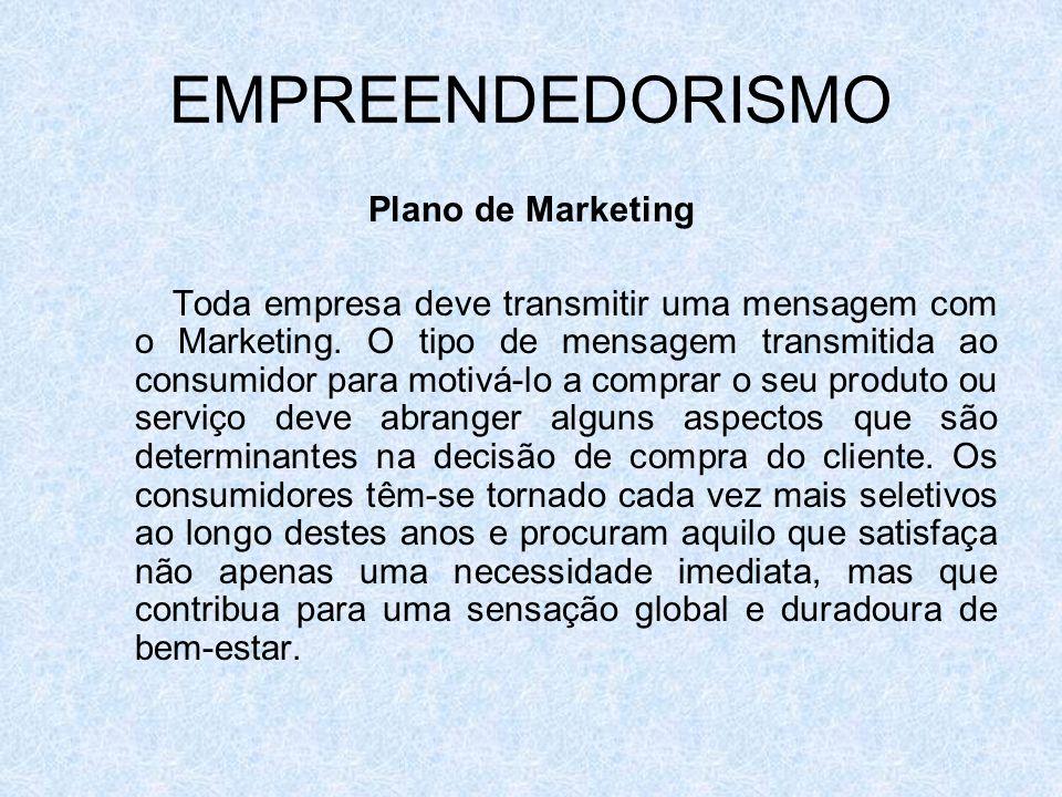 EMPREENDEDORISMO Plano de Marketing Toda empresa deve transmitir uma mensagem com o Marketing. O tipo de mensagem transmitida ao consumidor para motiv