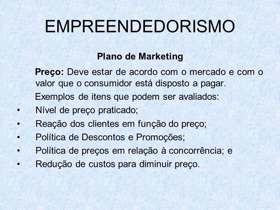EMPREENDEDORISMO Plano de Marketing Preço: Deve estar de acordo com o mercado e com o valor que o consumidor está disposto a pagar. Exemplos de itens