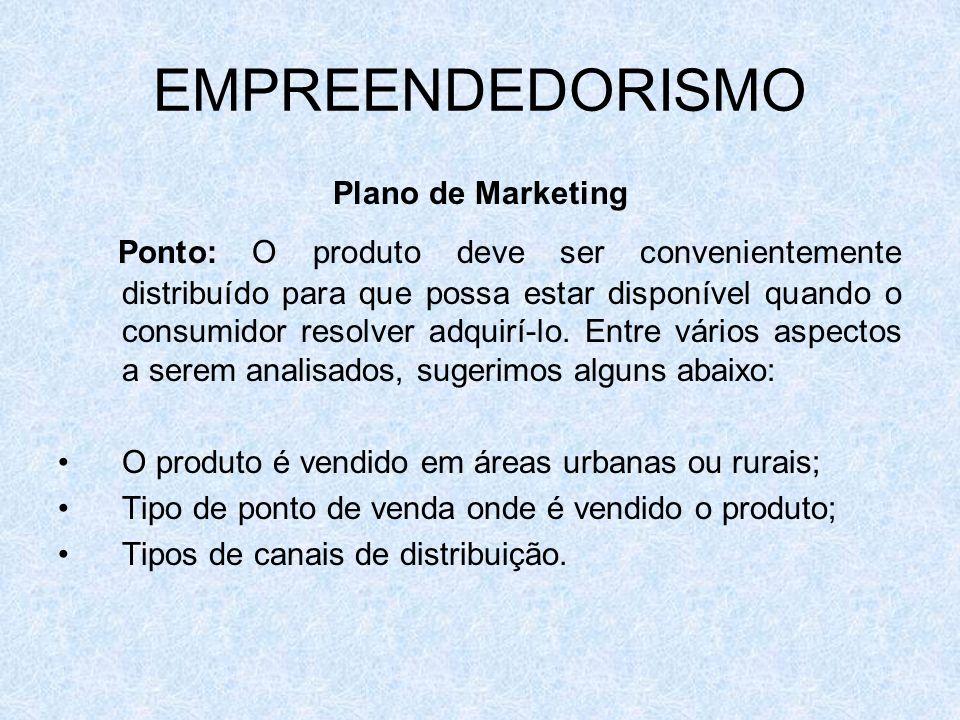 EMPREENDEDORISMO Plano de Marketing Ponto: O produto deve ser convenientemente distribuído para que possa estar disponível quando o consumidor resolve
