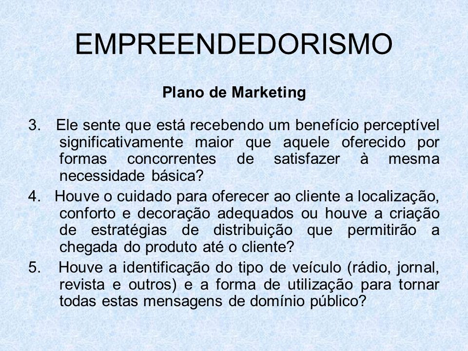 EMPREENDEDORISMO Plano de Marketing 3.
