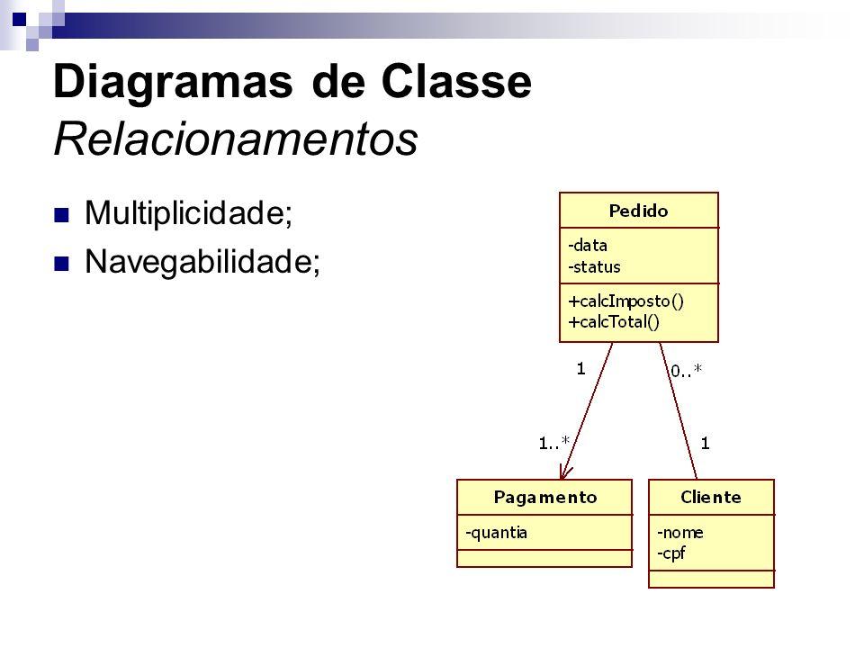 Diagramas de Classe Relacionamentos Multiplicidade; Navegabilidade;