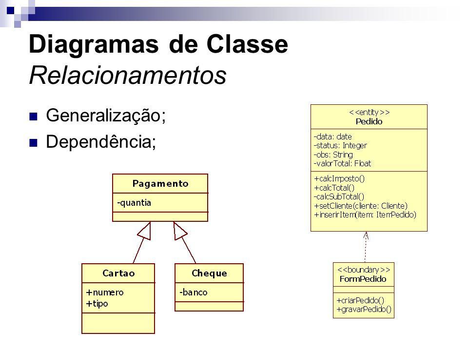 Diagramas de Classe Relacionamentos Generalização; Dependência;
