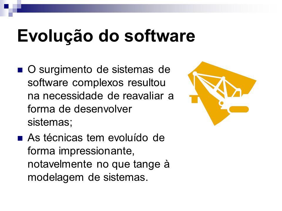 Evolução do software O surgimento de sistemas de software complexos resultou na necessidade de reavaliar a forma de desenvolver sistemas; As técnicas tem evoluído de forma impressionante, notavelmente no que tange à modelagem de sistemas.