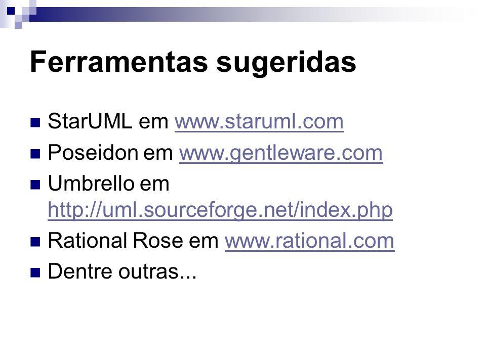 Ferramentas sugeridas StarUML em www.staruml.comwww.staruml.com Poseidon em www.gentleware.comwww.gentleware.com Umbrello em http://uml.sourceforge.net/index.php http://uml.sourceforge.net/index.php Rational Rose em www.rational.comwww.rational.com Dentre outras...