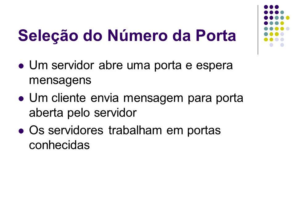 Seleção do Número da Porta Um servidor abre uma porta e espera mensagens Um cliente envia mensagem para porta aberta pelo servidor Os servidores traba