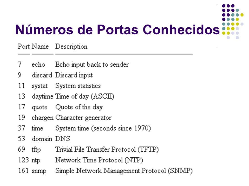 TCP - Transmission Control Protocol Protocolo de transporte Fornece serviço confiável utilizando datagrama IP Características Orientado a conexão Comunicação ponto a ponto Comunicação full-duplex Confiabilidade completa Interface de stream Partida de conexão confiável (3 estados) Desligamento de conexão confiável