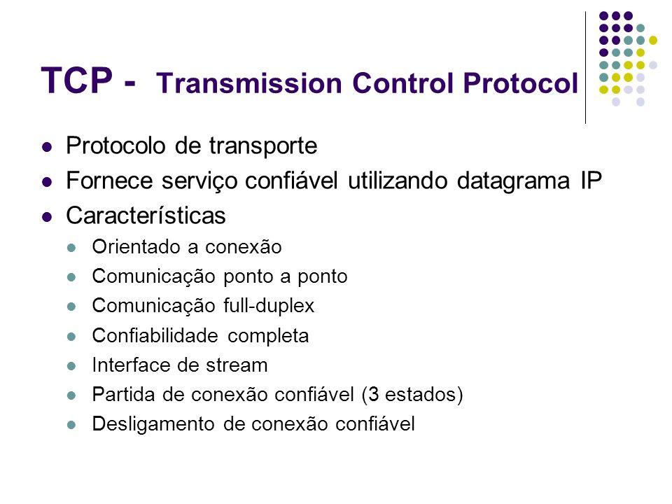 TCP - Transmission Control Protocol Protocolo de transporte Fornece serviço confiável utilizando datagrama IP Características Orientado a conexão Comu