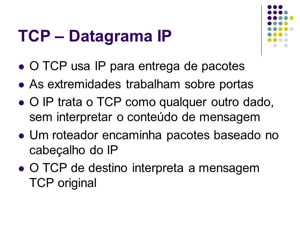 TCP – Datagrama IP O TCP usa IP para entrega de pacotes As extremidades trabalham sobre portas O IP trata o TCP como qualquer outro dado, sem interpre