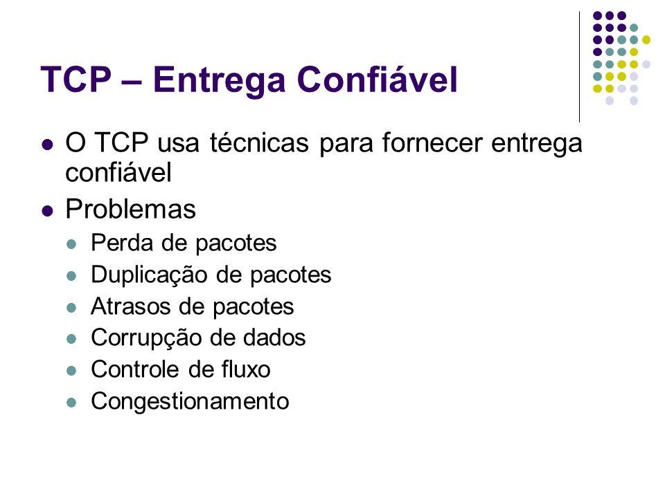 TCP – Entrega Confiável O TCP usa técnicas para fornecer entrega confiável Problemas Perda de pacotes Duplicação de pacotes Atrasos de pacotes Corrupç