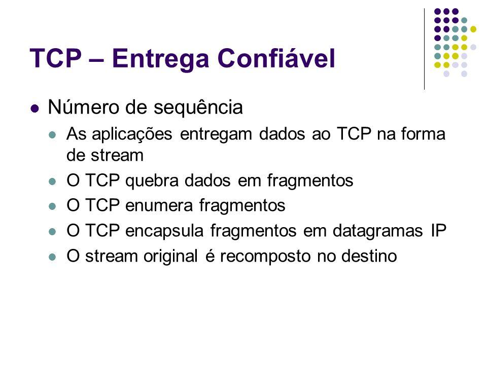 TCP – Entrega Confiável Número de sequência As aplicações entregam dados ao TCP na forma de stream O TCP quebra dados em fragmentos O TCP enumera frag