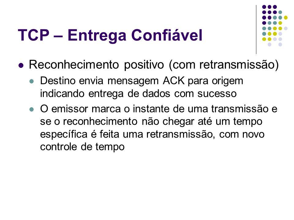 TCP – Entrega Confiável Reconhecimento positivo (com retransmissão) Destino envia mensagem ACK para origem indicando entrega de dados com sucesso O em