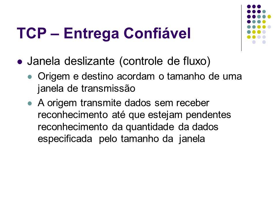 TCP – Entrega Confiável Janela deslizante (controle de fluxo) Origem e destino acordam o tamanho de uma janela de transmissão A origem transmite dados