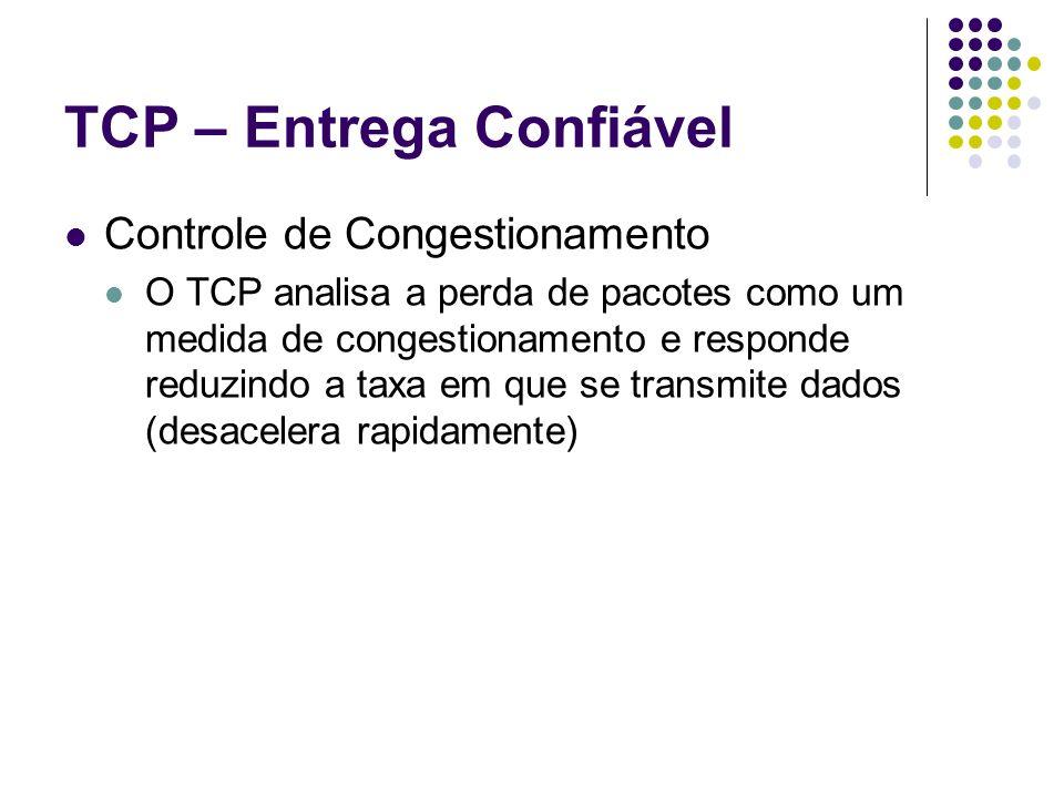 TCP – Entrega Confiável Controle de Congestionamento O TCP analisa a perda de pacotes como um medida de congestionamento e responde reduzindo a taxa e
