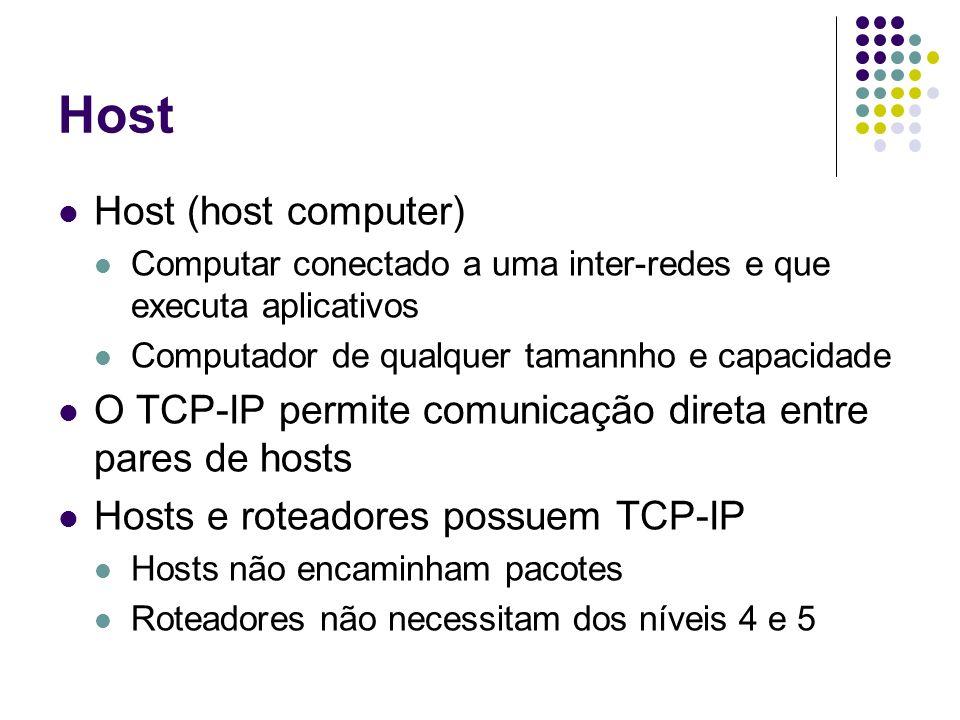 Host Host (host computer) Computar conectado a uma inter-redes e que executa aplicativos Computador de qualquer tamannho e capacidade O TCP-IP permite