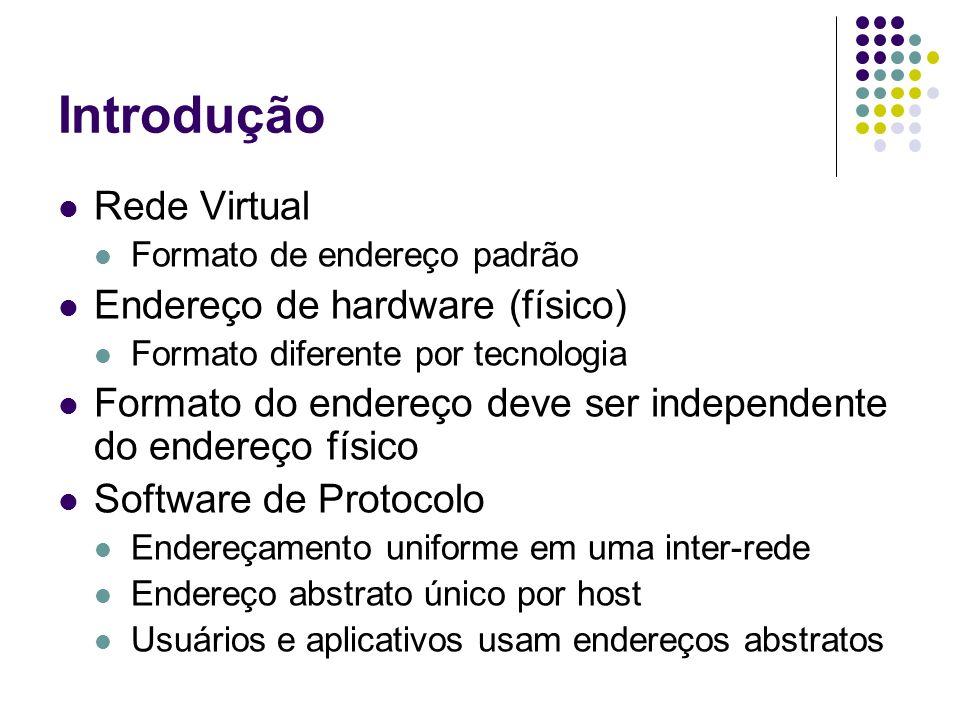Introdução Rede Virtual Formato de endereço padrão Endereço de hardware (físico) Formato diferente por tecnologia Formato do endereço deve ser indepen