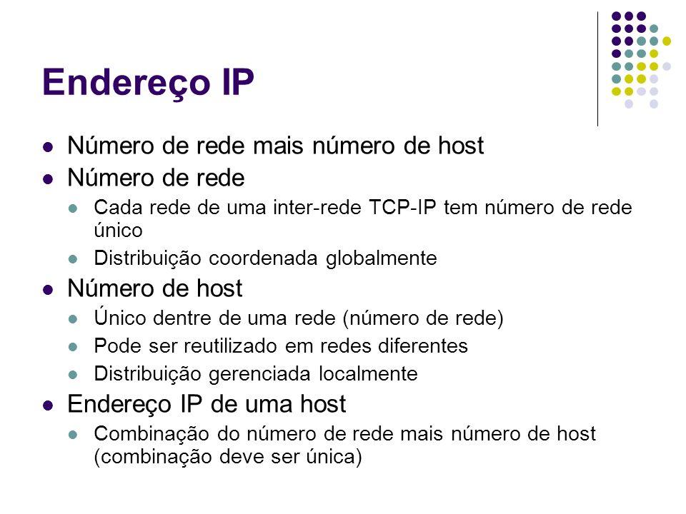 Classes de Endereços IP Endereço IP: 32 bits Divisão de bits entre rede e host (prefixo e sufixo) Rede maior que host Muitas redes, poucos hosts por rede Host maior que rede Poucas redes, muitos hosts por rede Classes de endereços Esquema de endereço que combina redes grandes e pequenas 3 classes primárias (A,B,C) 2 classes especiais (D,E) Uma classe é identificada pelos primeiros quatro bits do endereço