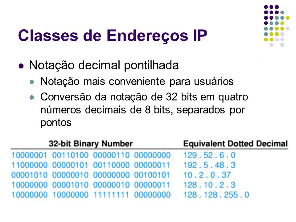 Classes de Endereços IP Notação decimal pontilhada Notação mais conveniente para usuários Conversão da notação de 32 bits em quatro números decimais d