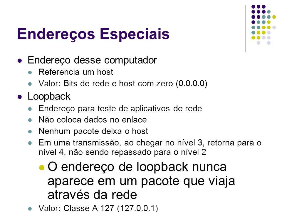 Endereços Especiais Endereço desse computador Referencia um host Valor: Bits de rede e host com zero (0.0.0.0) Loopback Endereço para teste de aplicat
