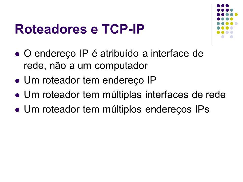 Roteadores e TCP-IP O endereço IP é atribuído a interface de rede, não a um computador Um roteador tem endereço IP Um roteador tem múltiplas interface