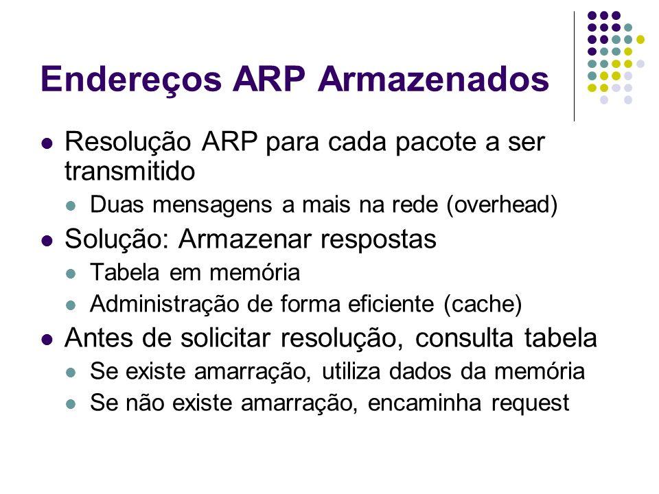 Endereços ARP Armazenados Resolução ARP para cada pacote a ser transmitido Duas mensagens a mais na rede (overhead) Solução: Armazenar respostas Tabel