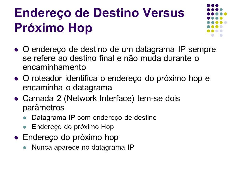 Endereço de Destino Versus Próximo Hop Todas as rotas são definidas baseadas no endereço do datagrama IP (endereço de destino) O software IP usa ARP para definir endereço físico