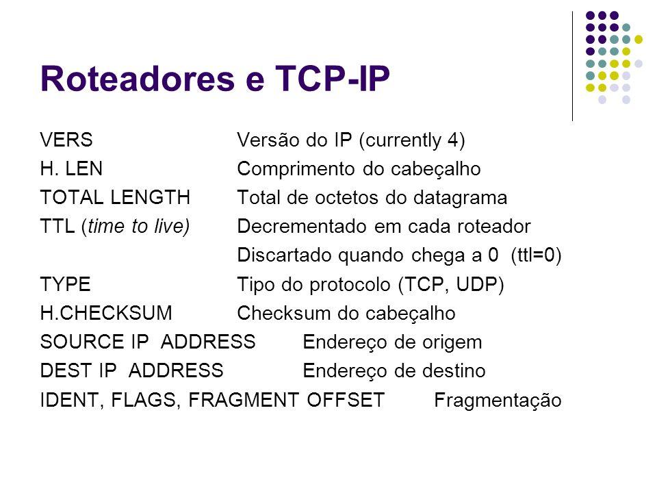Roteadores e TCP-IP VERSVersão do IP (currently 4) H. LENComprimento do cabeçalho TOTAL LENGTHTotal de octetos do datagrama TTL (time to live)Decremen