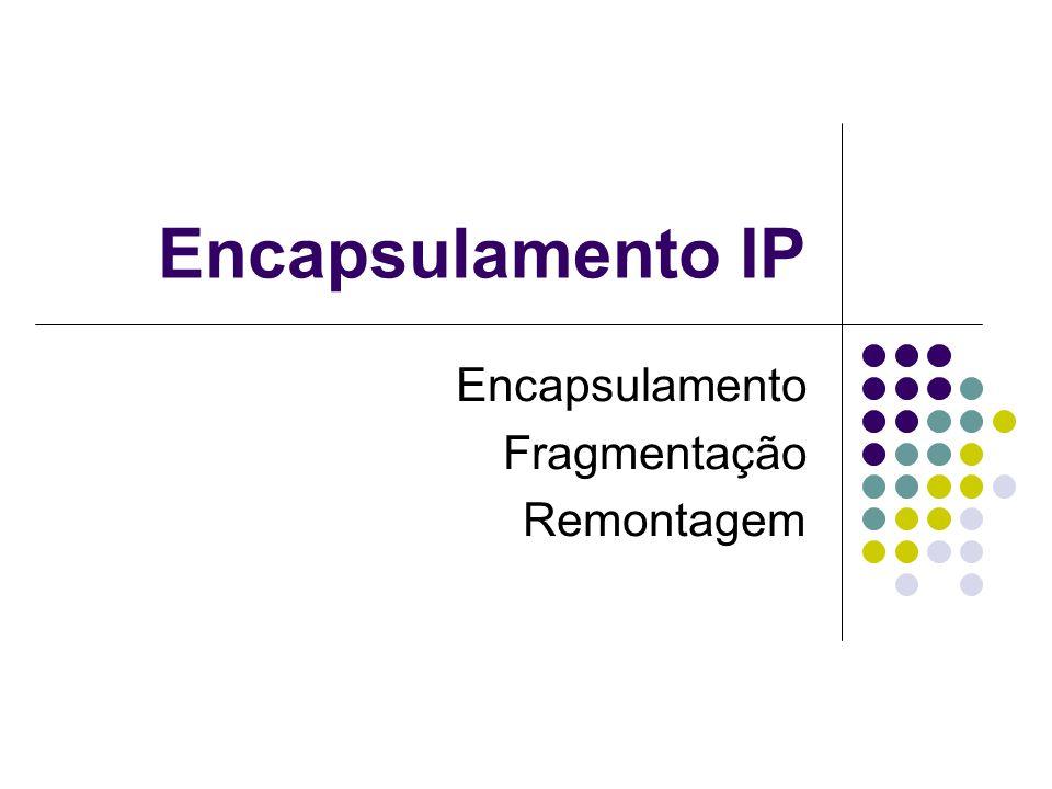 Encapsulamento IP Encapsulamento Fragmentação Remontagem