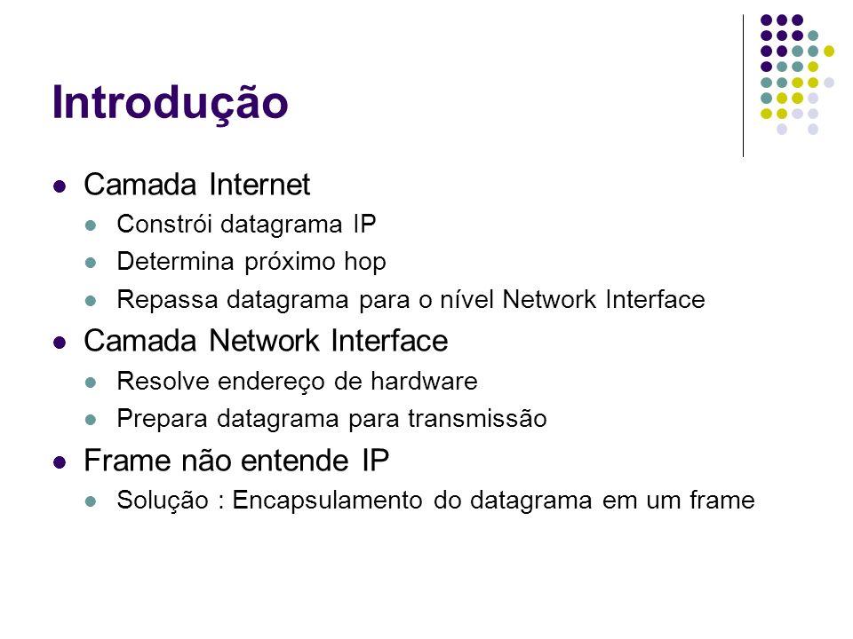 Encapsulamento Ato de inserir um datagrama em um quadro de rede para que ele possa ser transportado O datagrama é transportado na parte de dados do quadro de rede O encapsulamento do datagrama IP acontece no nível 2 (Network Interface) O endereço de destino do quadro é o endereço do próximo hop Frame possui campo tipo de quadro