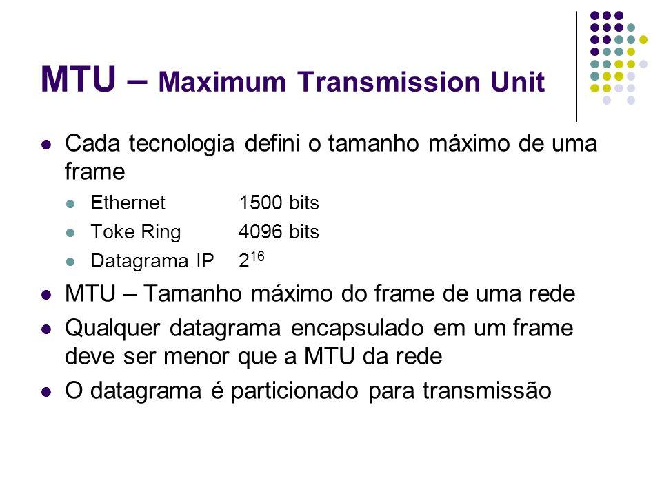 MTU – Maximum Transmission Unit Inter-rede Redes heterogêneas – frames e MTU diferentes Fragmentação Divisão de um datagrama em pedaços pequenos chamandos fragmentos A divisão é feita baseada na MTU da rede O roteador detecta que o datagrama é maior que a MTU da rede e realiza a fragmemtação