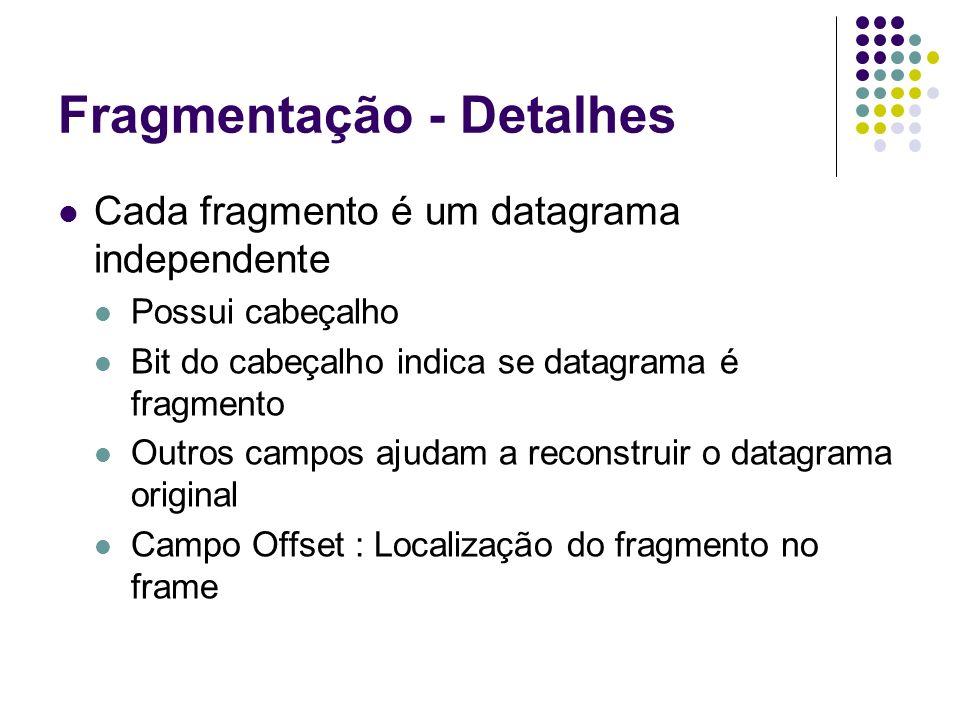 Fragmentação - Detalhes Cada fragmento é um datagrama independente Possui cabeçalho Bit do cabeçalho indica se datagrama é fragmento Outros campos aju