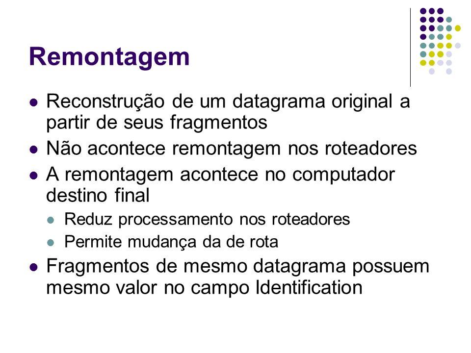 Remontagem Perdas de fragmentos Um datagrama só é remontado quando chegam todos os seus fragmentos Se faltar um fragmento, todo o datagrama é eliminado e se pede re-transmissão Tudo ou nada Remetente não sabe da fragmentação Não existe garantia que um datagrama retransmitido seja fragmentado da mesma maneira que o original