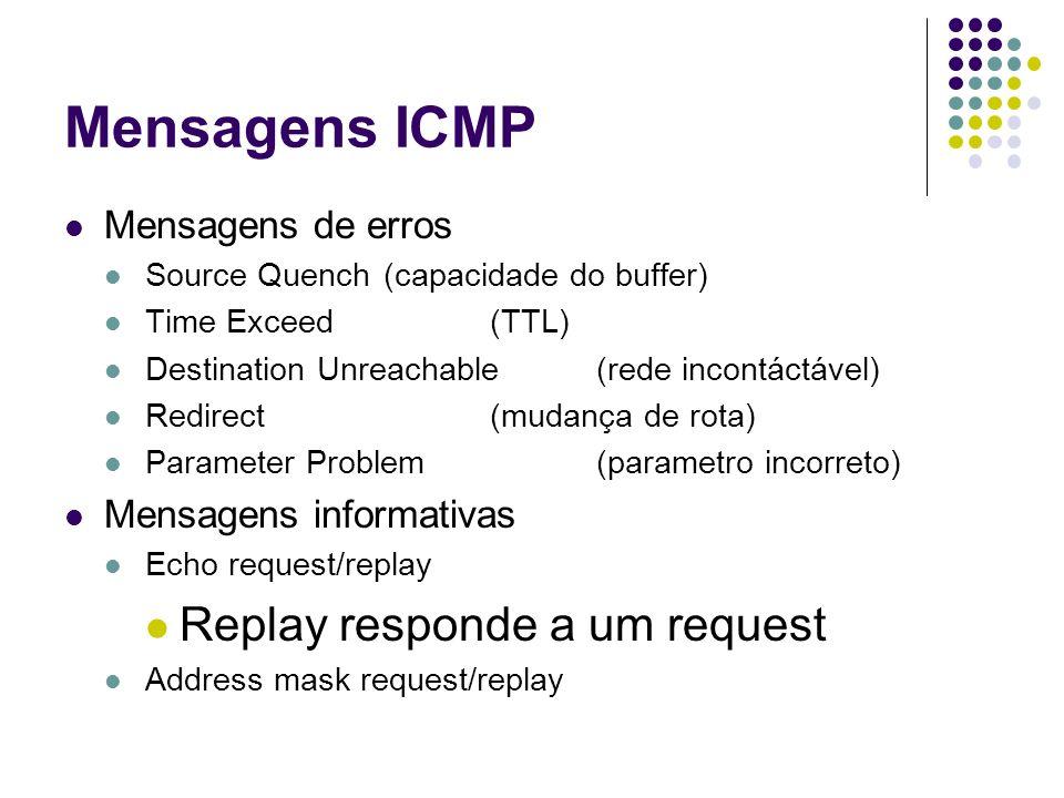 Mensagens ICMP Mensagens de erros Source Quench(capacidade do buffer) Time Exceed(TTL) Destination Unreachable (rede incontáctável) Redirect (mudança de rota) Parameter Problem(parametro incorreto) Mensagens informativas Echo request/replay Replay responde a um request Address mask request/replay