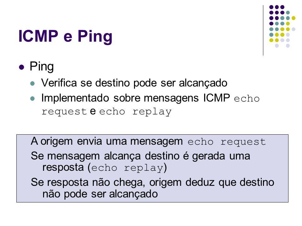 ICMP e Ping Ping Verifica se destino pode ser alcançado Implementado sobre mensagens ICMP echo request e echo replay A origem envia uma mensagem echo