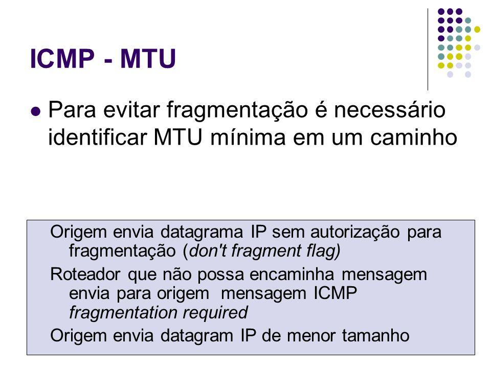 ICMP - MTU Para evitar fragmentação é necessário identificar MTU mínima em um caminho Origem envia datagrama IP sem autorização para fragmentação (don