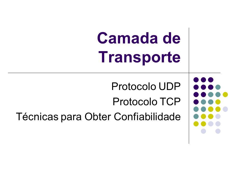 Introdução O IP define serviço de melhor esforço Sem confiabilidade Descarte de pacotes Transmissão confiável é importante para as aplicações Camada de Transporte Transmissão confiável UDP – Serviço de datagrama TCP – Entrega confiável