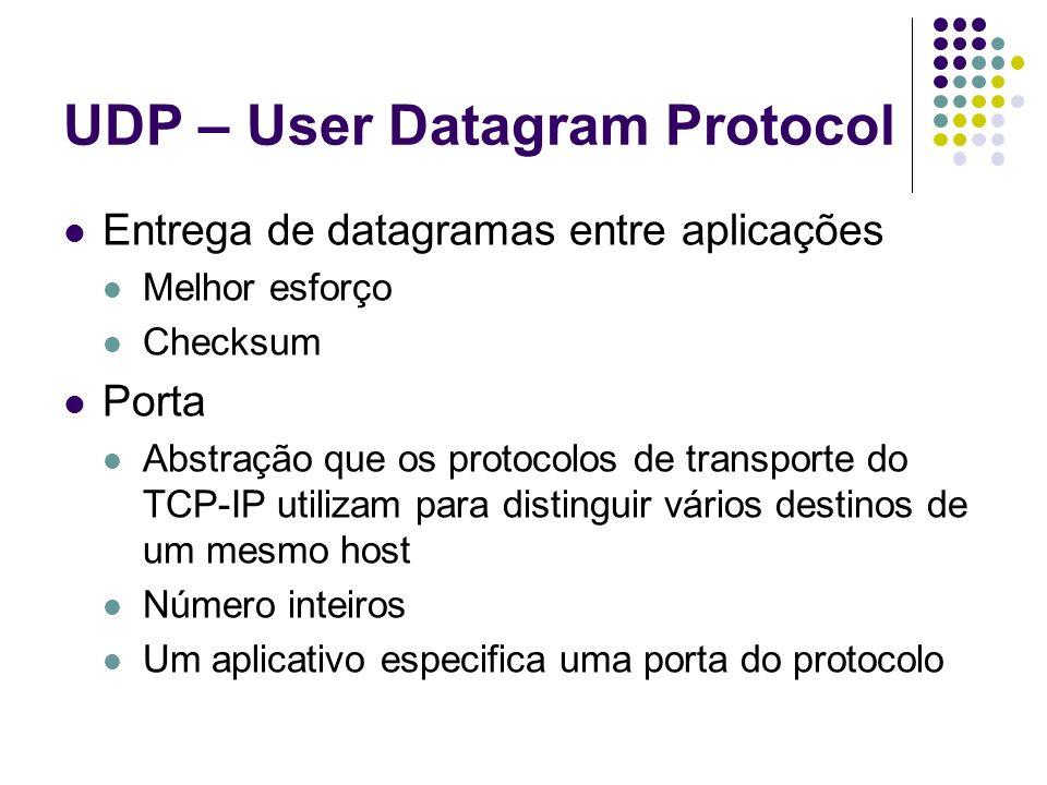 UDP – User Datagram Protocol Entrega de datagramas entre aplicações Melhor esforço Checksum Porta Abstração que os protocolos de transporte do TCP-IP